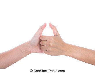 Female hands shows thumbs up, isolated on white