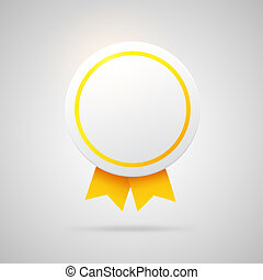 Round vector award with golden ribbons.