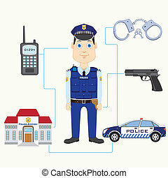 Policeman - vector illustration of policeman with gun