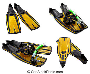 Set of yellow flippers, mask, snorkel for diving with water...