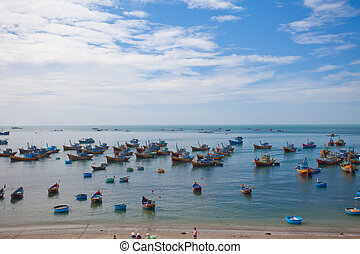 Fishing Boats with blue sky on the Coast of Vietnam