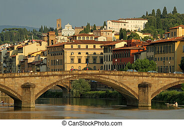 Arno river with bridge Ponte alla Carraia and Villa Bardini...