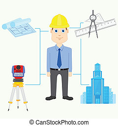 Architect - vector illustration of Architect with equipment