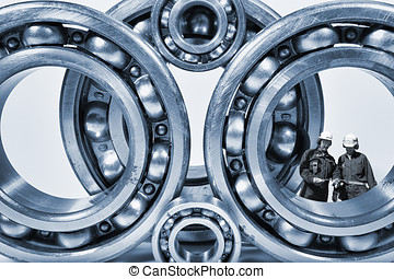 ball-bearings and engineering - two engineers, workers...