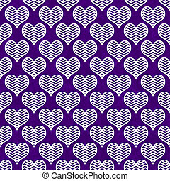 Purple and White Chevron Hearts Pattern Repeat Background...