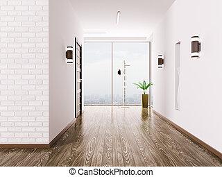 Hall interior - Interior of modern entrance hall 3d render