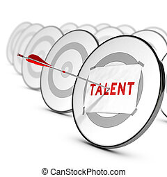 Talents Recruitment Concept - One arrow hitting the center...