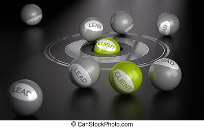 Marketing Concept, Convert Leads To Clients - Many spheres...