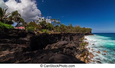 Shoreline Timelapse at La Reunion - Timelapse of the...