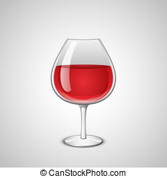 Glass of wine - Wineglass with red wine. Vector illustration