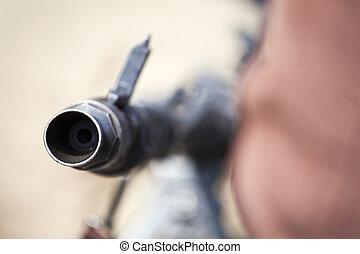 Gun barrel - The tip of an old machine gun barrel (Second...