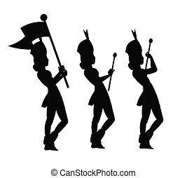 majorettes in silhouette  - templates of majorettes