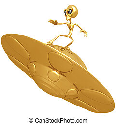 Alien Surfing UFO - 3D Concept And Presentation Figure