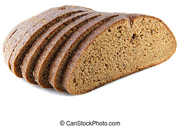 rye bread - sliced rye bread on a white background