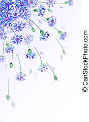 Vertical background with bluebottles - Vertical vector card...