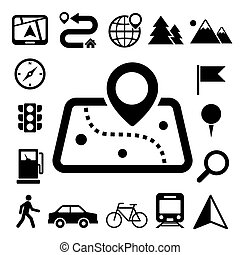 Map and Location Icons set Illustration eps10