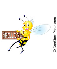 Spelling Bee - A honeybee holding a sign that says spelling