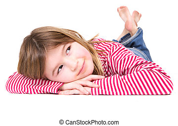 Young blond girl lying on floor - Close up portrait of a...