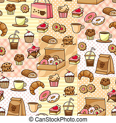 coffee and cake pattern - seamless pattern with coffee and...