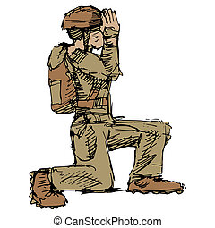 Kneeling Soldier - An image of a kneeling soldier saluting