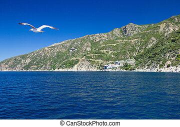 mountain Athos - Greek coast near holy mountain Athos,...