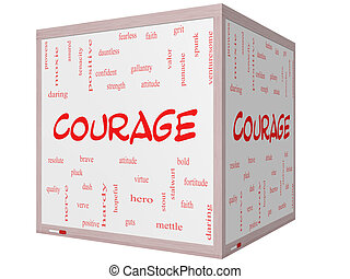 Courage Word Cloud Concept on a 3D cube Whiteboard