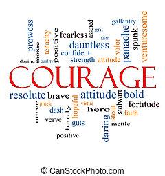 coragem, palavra, nuvem, conceito