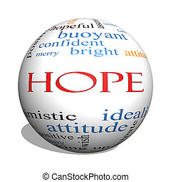 Hope 3D sphere Word Cloud Concept with great terms such as...