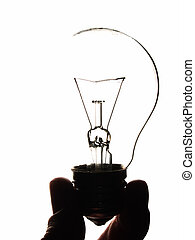Idea - Light buld in mans hand on white background isolated...
