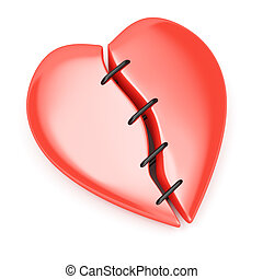 broken heart with stitches isolated on white background. 3d...