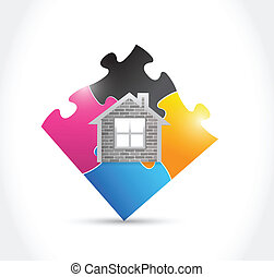 home and puzzle illustration design
