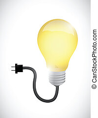 light bulb connected to a power cable illustration
