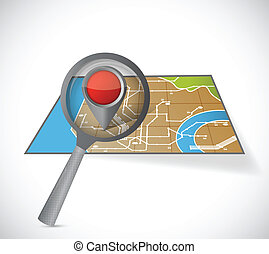 map and magnify glass illustration design