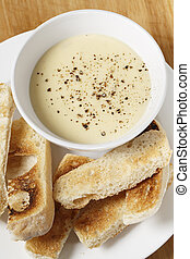 Cheese dip and toast vertical