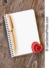Notebook with decorative heart - Notebook with pen and...