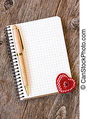 caderno, decorativo, Coração