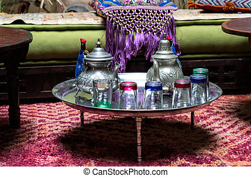 Traditional Moroccan tea service