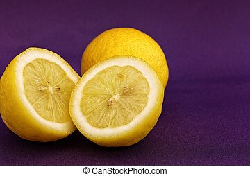 Lemon on Purple background