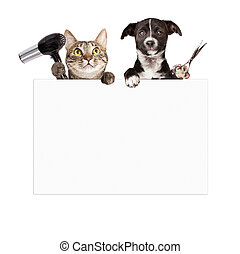 Dog and Cat Grooming Blank Sign - A cat holding a hair dryer...