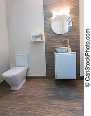 Bathroom toilet with round mirror modern indoor with ceramic...