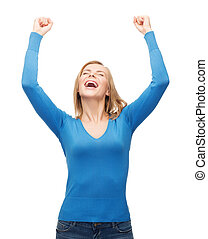 laughing young woman with hands up - happiness and people...