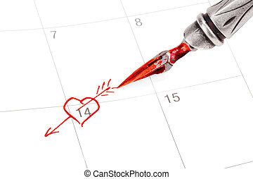Calendar with Saint Valentines date marked out with ink pen