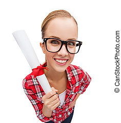 smiling woman in black eyeglasses with diploma - university...