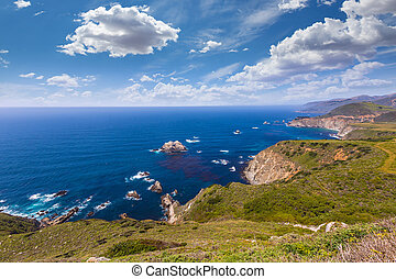 California beach in Big Sur in Monterey County Route 1 -...