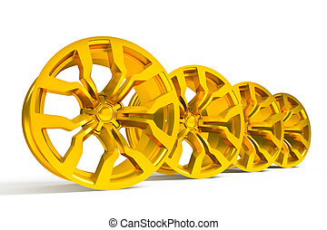 Car gold alloy wheel isolated over white - Set of car gold...