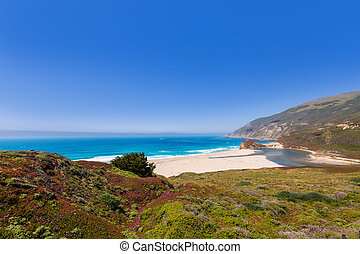 California beach in Big Sur in Monterey Pacific Highway 1 -...