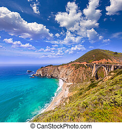 California Bixby bridge in Big Sur Monterey County in Route...