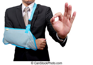 thumb up young businessman with broken hand wearing an arm brace, series