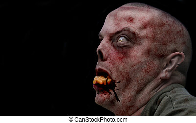 Male Zombie - Portrait of a scary male undead creature