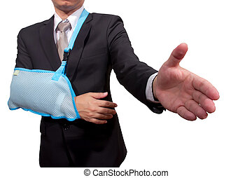 young businessman with pain and broken hand wearing an arm